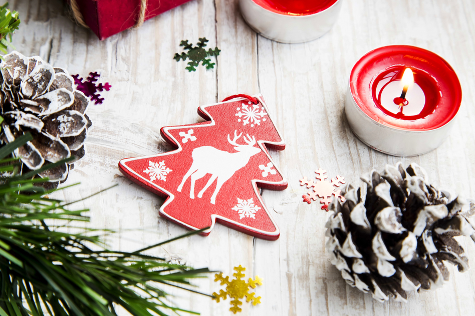 Wooden Reindeer Christmas Decoration with Ornaments and Burning Candle